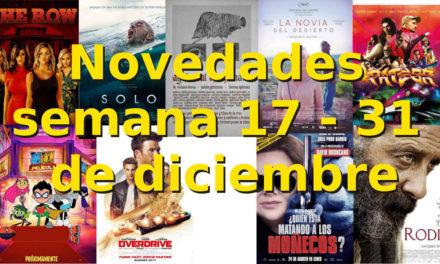Novedades en DVD y BR para la semana del 17 – 31 de diciembre